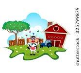 girl cow cartoon in a farm for
