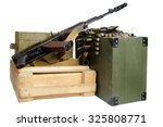 Army Box Of Ammunition With Ak...