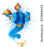 magic genie at your service. a... | Shutterstock .eps vector #325866419