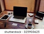 mock up of modern desktop with... | Shutterstock . vector #325903625