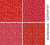 Set of four red seamless Christmas backgrounds with snowflakes, gift boxes and other elements.
