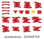 set of red ribbons and flags.... | Shutterstock .eps vector #325949729