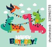 happy birthday   lovely vector... | Shutterstock .eps vector #325983755