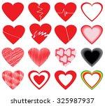vector hearts set | Shutterstock .eps vector #325987937