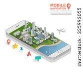 3d isometric mobile gps... | Shutterstock .eps vector #325993055