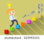 businessman climbing ladder to... | Shutterstock .eps vector #325993151