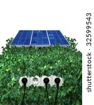 Solar panel with plugs - stock photo