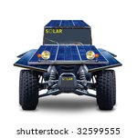 blue solar car - stock photo