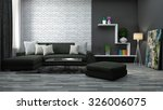 interior with brown sofa. 3d... | Shutterstock . vector #326006075