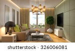 interior with brown sofa. 3d... | Shutterstock . vector #326006081