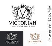 v letter victorian luxury crest ... | Shutterstock .eps vector #326017004