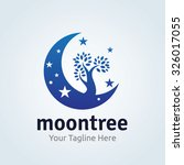 Moon Tree Logo Vector Logo...