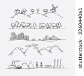 Vector illustration of  landscapes. Doodles hand-drawn style.