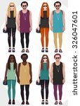a couple hipsters set of color... | Shutterstock .eps vector #326047601