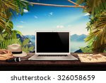 white laptop map hat rope torch ... | Shutterstock . vector #326058659