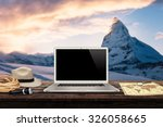 white laptop map hat rope torch ... | Shutterstock . vector #326058665