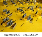 Small photo of Empty well slots area on offshore wellhead platform