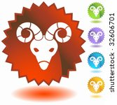 zodiac badge aries | Shutterstock .eps vector #32606701