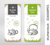 Stock vector black and green tea design package vector set 326068901