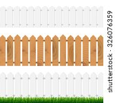 fence with green grass and blue ... | Shutterstock .eps vector #326076359