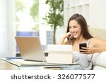 happy woman working with... | Shutterstock . vector #326077577