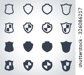 vector black shield icon set.  | Shutterstock .eps vector #326086217