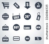 vector black shopping icon set.  | Shutterstock .eps vector #326086535