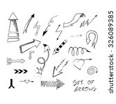 set of hand drawn sketch arrows ... | Shutterstock .eps vector #326089385