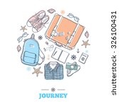 set with suitcase  backpack ... | Shutterstock .eps vector #326100431