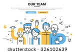 Flat line design style modern vector illustration concept for business people teamwork, human resources, career opportunities, team skills, management, for website banner and landing page. | Shutterstock vector #326102639