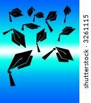 graduation hat toss on blue... | Shutterstock . vector #3261115