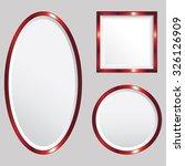 set of 3 red metallic vector... | Shutterstock .eps vector #326126909