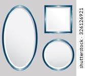 set of 3 blue metallic vector... | Shutterstock .eps vector #326126921