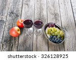glasses of wine and apples ... | Shutterstock . vector #326128925