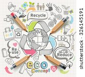 eco concept thinking doodles... | Shutterstock .eps vector #326145191