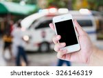 hand hold smartphone with... | Shutterstock . vector #326146319