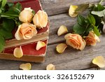 Bouquet Of Orange Roses On Gre...