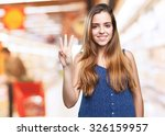 young pretty woman doing number ... | Shutterstock . vector #326159957