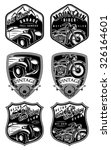 set of retro badges with car... | Shutterstock .eps vector #326164601