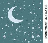 night sky. moon and stars... | Shutterstock .eps vector #326165111