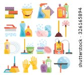 household supplies and cleaning ... | Shutterstock . vector #326165894