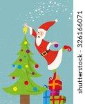 santa claus decorates the... | Shutterstock .eps vector #326166071