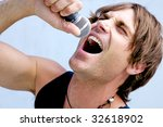 a rock star jamming out with a...   Shutterstock . vector #32618902