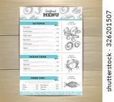 vintage seafood menu design.  | Shutterstock .eps vector #326201507