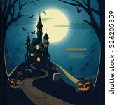 halloween landscape  with... | Shutterstock .eps vector #326205359