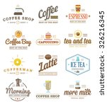 set of vector coffee logotype... | Shutterstock .eps vector #326216345