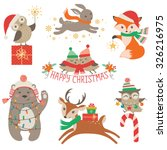 Set Of Cute Christmas Design...