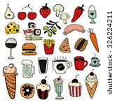 hand drawn food objects | Shutterstock .eps vector #326224211
