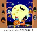 halloween night in forest  ...   Shutterstock .eps vector #326243417