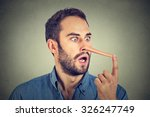 Man With Long Nose Isolated On...